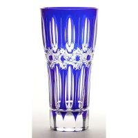 江戸切子 硝子工房彩 縞八角篭目文様 ビアグラス 瑠璃ルリ 木箱入り