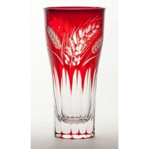 画像1: 江戸切子 硝子工房彩 麦文様 ビアグラス 赤アカ 木箱入り